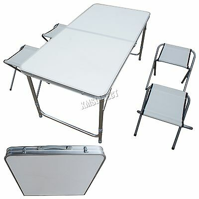 FoxHunter Outdoor Camping Table Foldable Aluminium Picnic Dining Set 4 Chair New