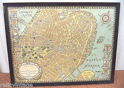 Gorgeous Antique Estate 1929 Charles R Capon Boston Harbor Mass Framed Map!!!