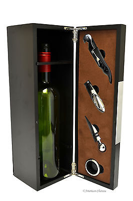 Wood Panel Wine Bottle Holder with 4 Wine Bar Tools and Accessories Gift Box
