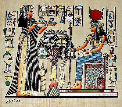 Egyptian Hand-painted Papyrus Art: Nefertari Offering Nu-Pots to Hathor SIGNED