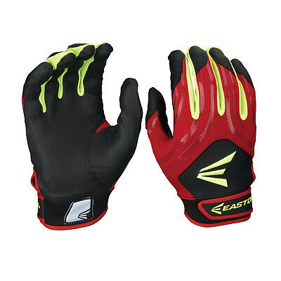 Easton HF3 Hyperskin Women's Fastpitch Batting Gloves - Black/Red/Optic - XL