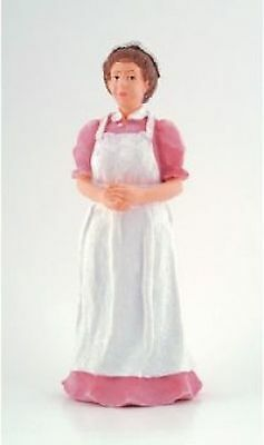 Dolls house resin figure of a COOK pink 1:12