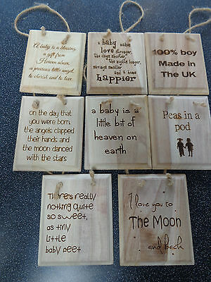 New Baby / Christening Gift Wooden Engraved Plaques Various Sayings & Bespoke
