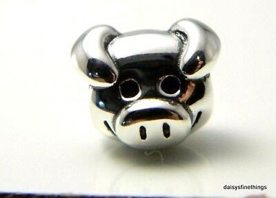 New/tags  Authentic Pandora Silver Charm Playful Pig #791746  Retired