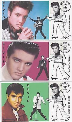 Jvc Cachets-2015 Elvis Presley  Issue Set Of 3 First Day Covers Topical Music