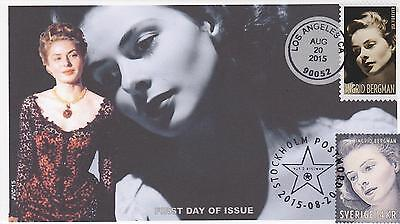 Jvc Cachets-2015 Ingrid Bergman Swedish & U.s. Dual Cancel First Day Cover Fdc 2