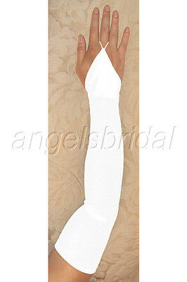 "23"" WHITE fingerless STRETCH SATIN BRIDAL WEDDING GOWN DRESS PROM OPERA GLOVES"