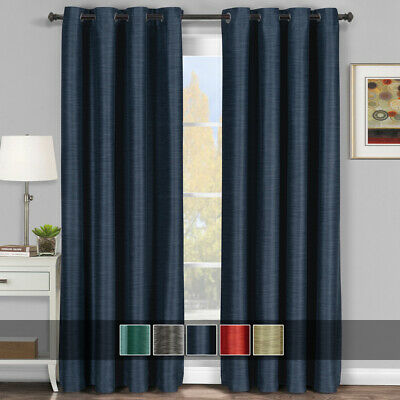Virginia (Set of 2) Blackout weave Grommet Curtain Panels 100% Polyester