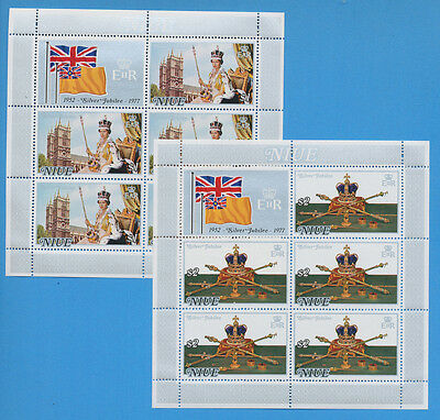 NIUE - see note after scott 194-195a - VFMNH 2 S/S for 1977 QEII SIlver Jubilee