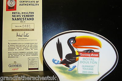 Guinness Toucan Advertising Display Sign Genuine Royal Doulton China Ltd Edition