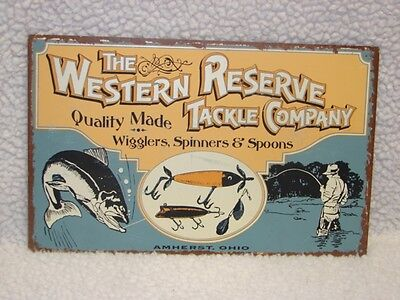 Metal Western Reserve Tackle Company Sign ~ Fisherman with Fish and Tackle Sign