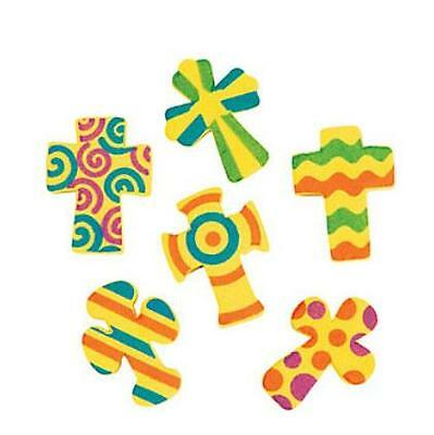 """30 Cross Foam Bead Kids Crafts Yellow Colorful Religious Christian 3/4"""" - 1"""""""
