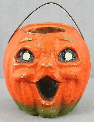 #667 - Vintage Pulp Paper Candy Bucket J-O-L Pumpkin With Wire Handle 4.5 Inch