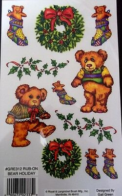 *CHRISTMAS BEAR* Royal & Langnickel Christmas Rub-ons - Bear-Stocking-Wreath