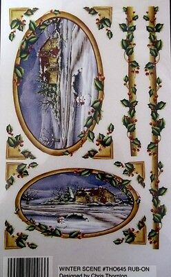 Beautiful *WINTER SCENE* Royal & Langnickel Christmas Rub-ons -