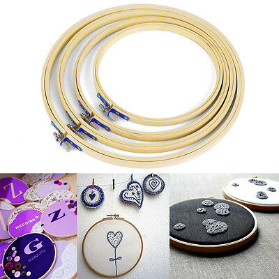 4 Size Wooden Cross Stitch Machine Embroidery Hoop Ring Bamboo Sewing 17-26cm