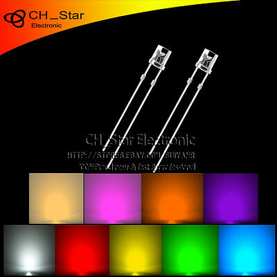 9colors 180pcs 3mm Flat Top LED Diodes White Red Green Blue Purple/uv Mix Kits
