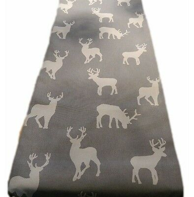 1 TABLE RUNNERS -in CHRISTMAS STAG REINDEER grey silver lined runner xmas *long*