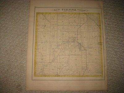 Antique 1874 Vienna Township Trumbull County Ohio Handcolored Map Brookfield Rar