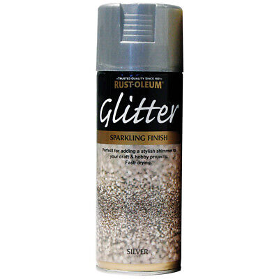 Rust-Oleum Silver Glitter Spray Paint 400ml Aerosol Sparkling Particle Finish