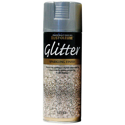 Silver Glitter Spray Paint 400ml Aerosol Sparkling Particle Finish Rust-Oleum