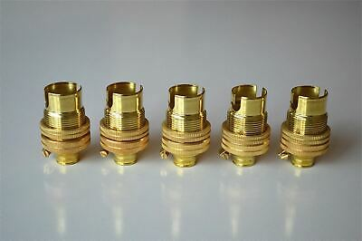 Set Of 5 Brass Small Bayonet B15 Fitting Bulb Holder Lamp C/w Shade Ring 10Mm L5