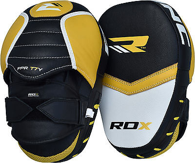 RDX Leather Focus Pads Hook and Jab Boxing Kick Curved MMA Bag Mitts Training AU