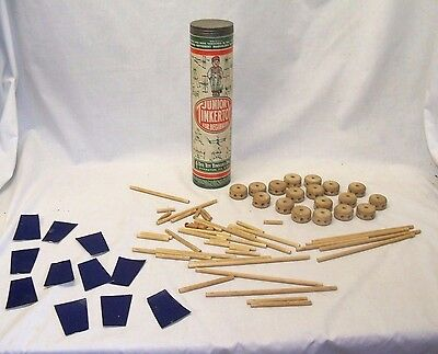 Antique 1920s Junior Tinkertoy For Beginners Building Toy Original Canister