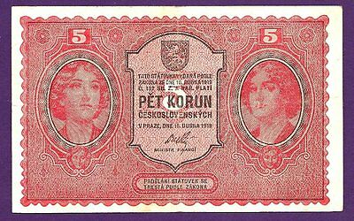 CZECHOSLOVAKIA 5 KORUN P7a VF+ TWO WOMEN AND ARMS, PRTD; HAASE IN PRAGUE