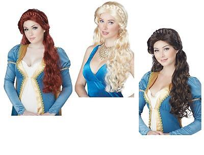 Adult Long Medieval Beauty Princess Renaissance Maiden Costume Wig