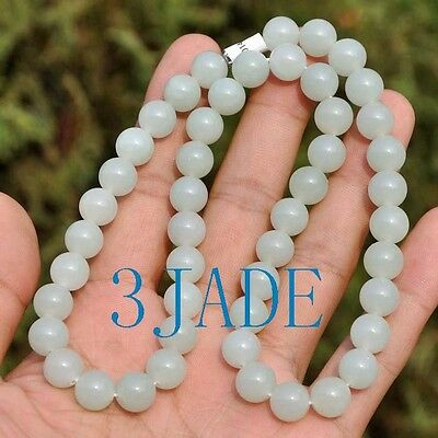 """18"""" Natural White Hetian Nephrite Jade Beads Necklace, w/ Certificate"""
