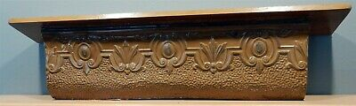 "Antique 44.5"" Pressed Tin Crown Molding Vintage Pediment / Wall Shelf"