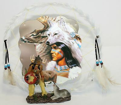 DREAM CATCHER Native American Howling Wolf and Chief Ornament Good Dreams Charm