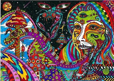 """Psychedelic Trippy Art Fabric poster 17"""" x 13"""" Decor 52"""