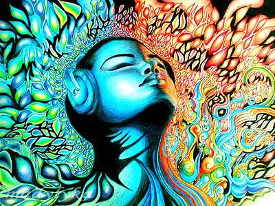 """Psychedelic Trippy Art Fabric poster 17"""" x13"""" Decor 06"""
