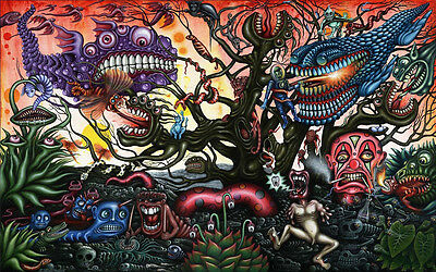 """Psychedelic Trippy Art Fabric poster 21""""  13"""" Decor 04"""