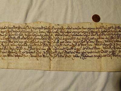 Antique Unidentified Elizabethen England Manuscipt Document 15-17thC  #F50