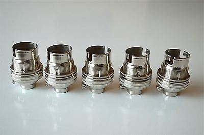 5 Nickel Bayonet Fitting Bulb Holder Lamp Holder Earthed Shade Ring 1/2 Inch L4