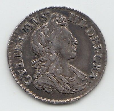 Rare 1701 Silver Threepence 3d - William III