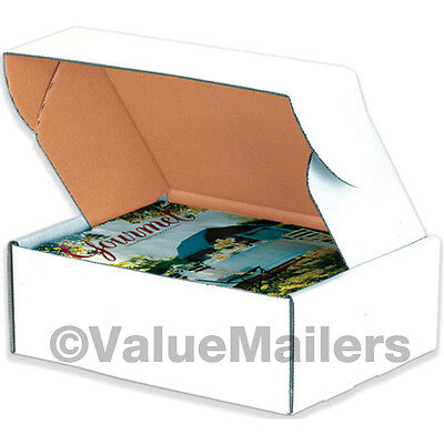 100 - 9 x 6 1/4 x 2 White Front Tab Lock Protective Shipping Mailer Box Boxes