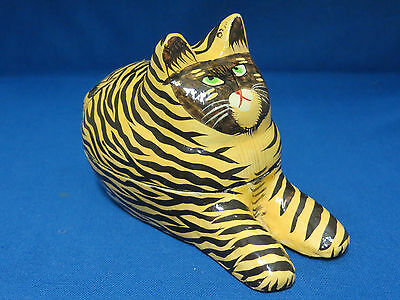 Tiger Tabby Cat Kitten Covered Trinket Box Hand Painted Wood Wooden Feline Kitty