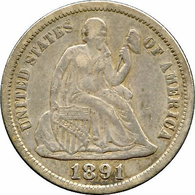 1891 Liberty Seated Dime Very Fine