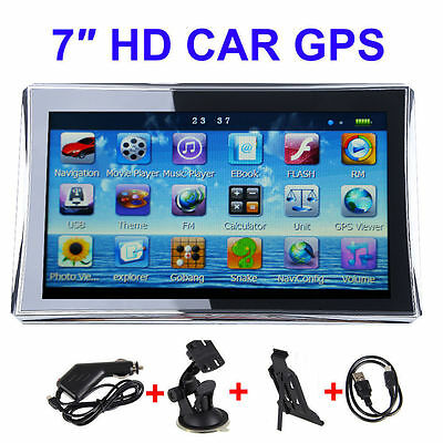 "Car 7"" Inch Touch Screen GPS Navigation System Video 8GB MP4 SAT NAV Free Maps"