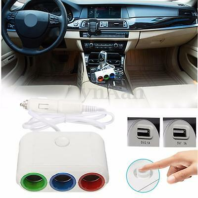 3.1A 3 Prise Multiprise Allume Cigare+2 USB Voiture Chargeur Adaptateur Splitter