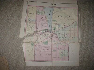 Huge Antique 1875 Auburn Cayuga County New York Handcolored Map Rare Superb Nr