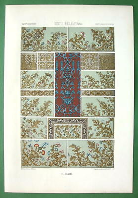 BAROQUE Ornaments Embroidery Wallpapers - COLOR Litho Print by Racinet