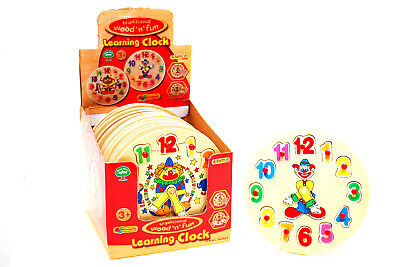 Wooden Puzzle Clock 20cm Clown Clock Wooden Puzzle Toy Learn Time