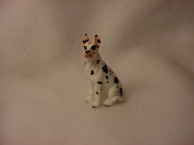 GREAT DANE Harlequin puppy TiNY Dog FIGURINE MINIATURE Mini Statue cropped ears