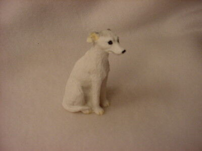 WHIPPET white puppy TiNY Dog FIGURINE Resin HAND PAINTED MINIATURE Mini Statue