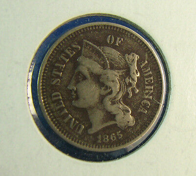1865 3 Cents us Nickel very nice condition